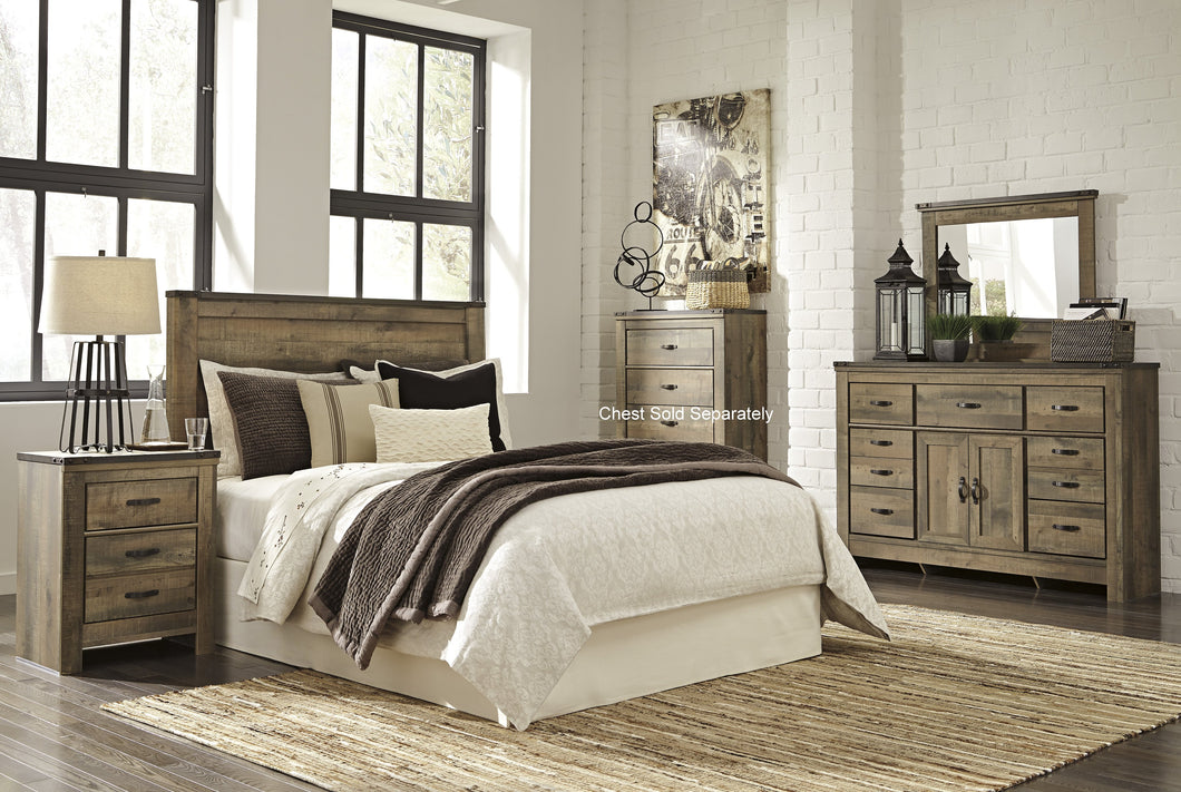 Cremona Brown Casual Bedroom Set: Queen Panel Headboard, Dresser with Doors, Mirror, Nighstand