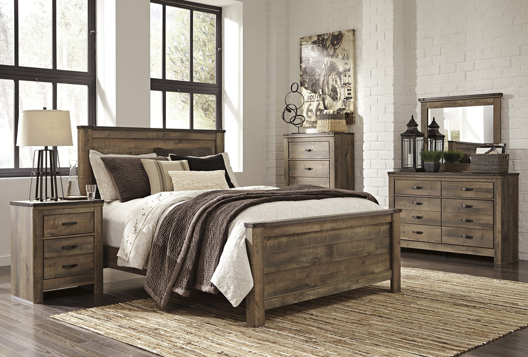 Cremona Brown Casual Bedroom Set: Queen Panel Bed, Dresser, Mirror, 2 Nightstands, Chest