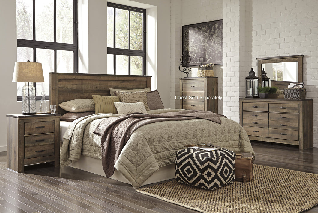 Cremona Brown Casual Bedroom Set: King/Cal King Panel Headboard, Dresser, Mirror, 2 Nightstands