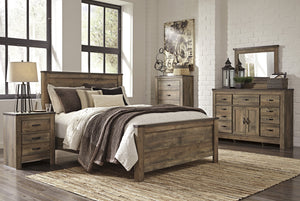 Cremona Brown Casual Bedroom Set: King Panel Bed, Dresser with Doors, Mirror, 2 Nightstands, Chest