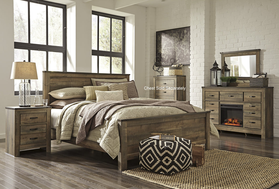 Cremona Brown Casual Bedroom Set: King Panel Bed, Dresser, with Fireplace  Mirror, Nightstand