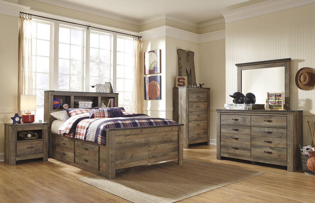 Cremona Brown Casual Bedroom Set: Twin Bookcase Bed with 2 Drawer Storage, Dresser, Mirror, Nightstand, Chest