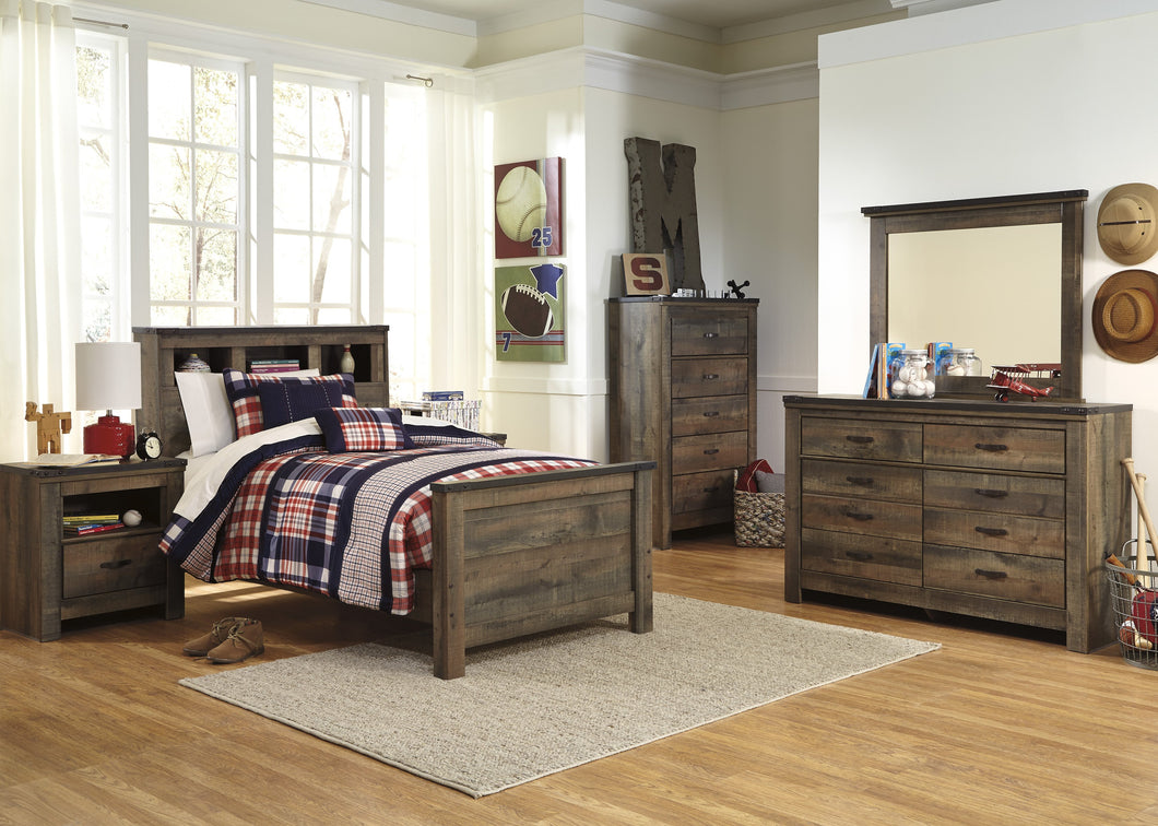 Cremona Brown Casual Bedroom Set: Twin Bookcase Bed, Dresser, Mirror, Nightstand, Chest