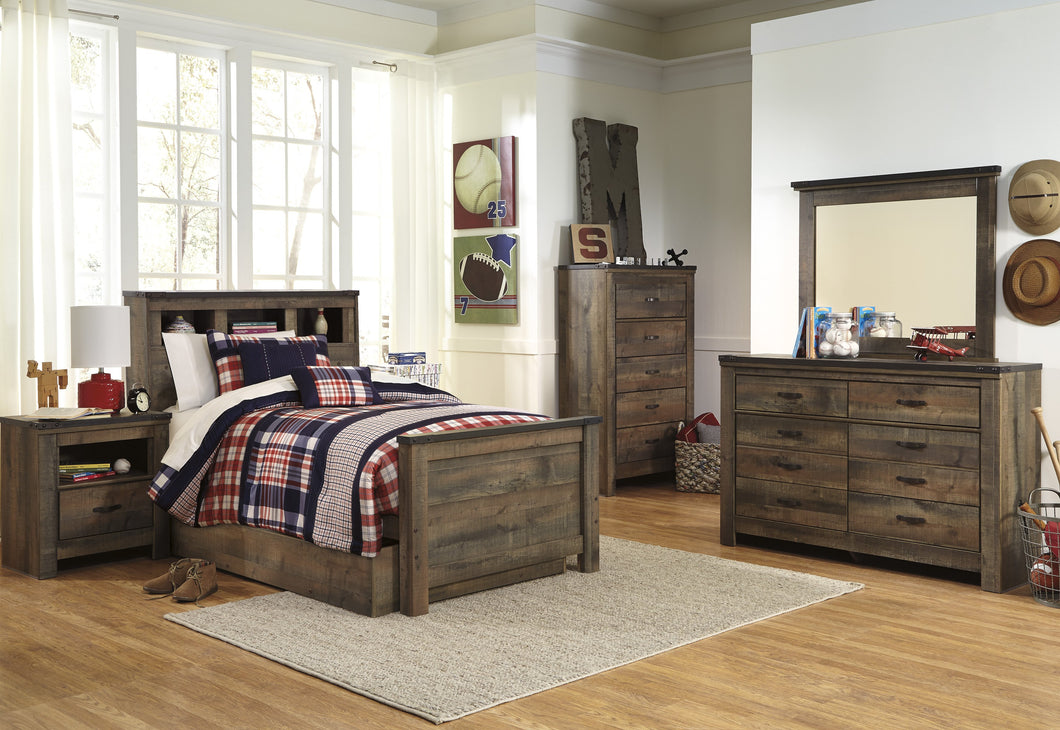 Cremona Brown Casual Bedroom Set: Twin Bookcase Bed with Underbed Storage, Dresser, Mirror, 2 Nightstands, Chest