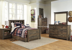 Cremona Brown Casual Bedroom Set: Twin Bookcase Bed with Underbed Storage, Dresser, Mirror, Nightstand