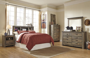 Cremona Brown Casual Bedroom Set: Full Bookcase Headboard, Dresser, Mirror, Nightstand, Chest