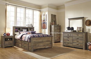 Cremona Brown Casual Bedroom Set: Full Bookcase Bed, Dresser, Mirror, 2 Nightstands