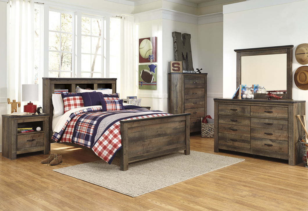 Cremona Brown Casual Bedroom Set: Full Bookcase Bed, Dresser, Mirror, 2 Nightstands, Chest
