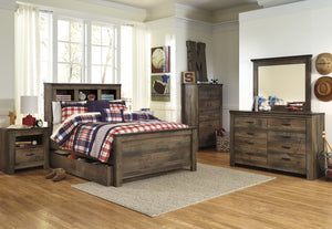 Cremona Brown Casual Bedroom Set: Full Bookcase Bed with Underbed Storage, Dresser, Mirror, Nightstand, Chest