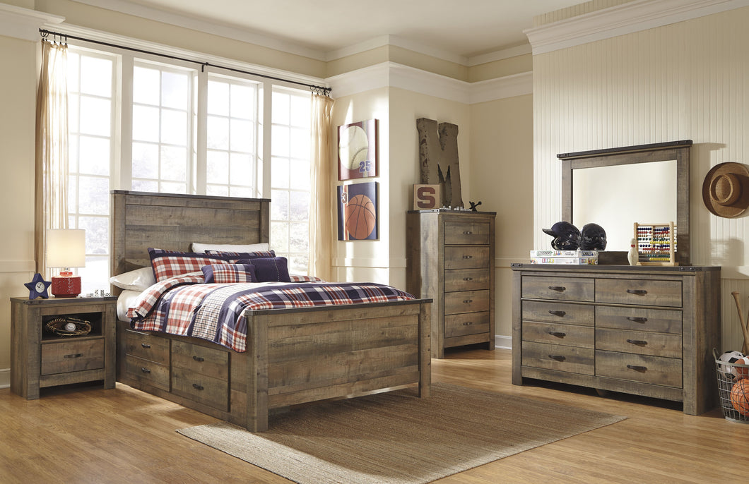 Cremona Brown Casual Bedroom Set: Full Panel Bed with 2 Drawer Storage, Dresser, Mirror, Nightstand, Chest