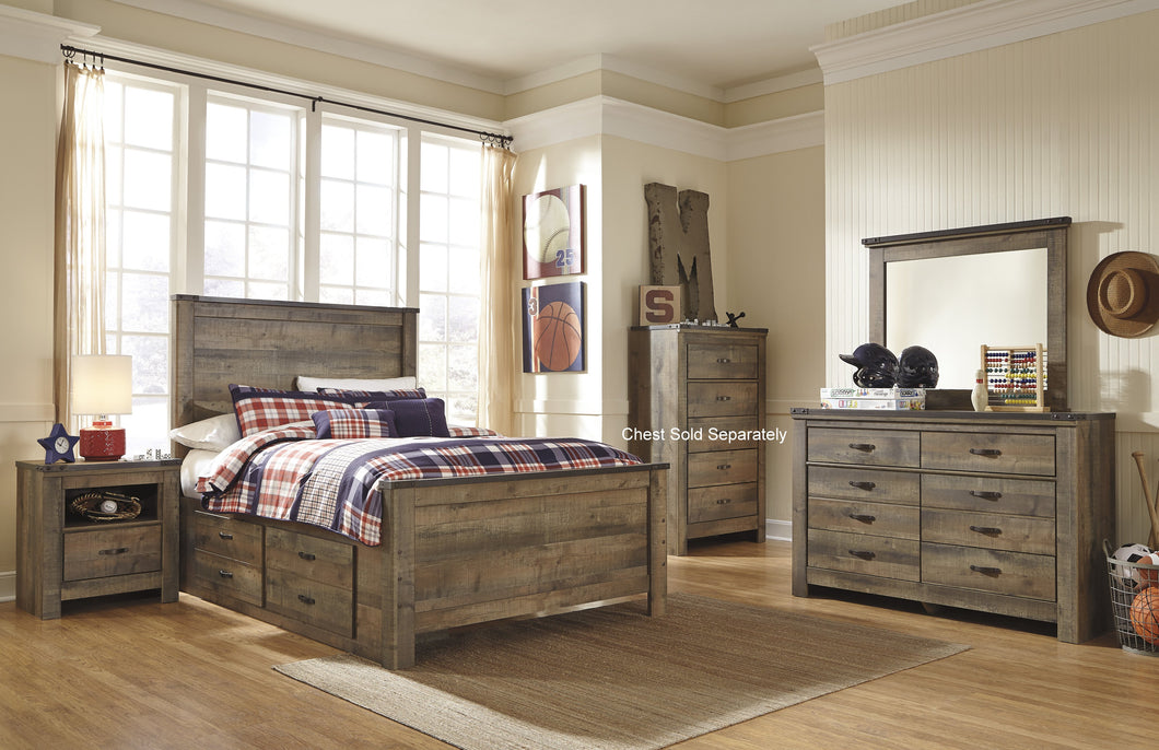 Cremona Brown Casual Bedroom Set: Full Panel Bed with 2 Drawer Storage, Dresser, Mirror, Nightstand