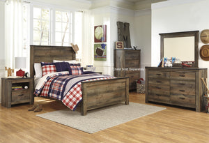 Cremona Brown Casual Bedroom Set: Full Panel Bed, Dresser, Mirror, Nightstand