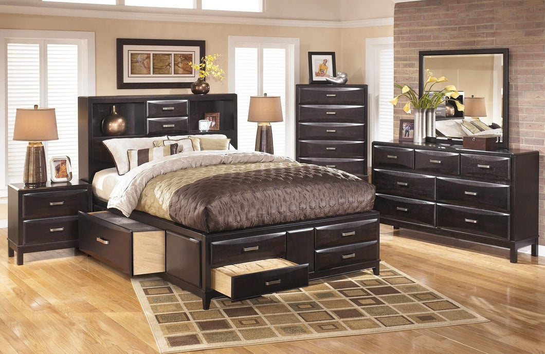 Kira 4-Piece Bedroom Set with King Size Storage Bed, Dresser, Mirror and Nightstand in Black