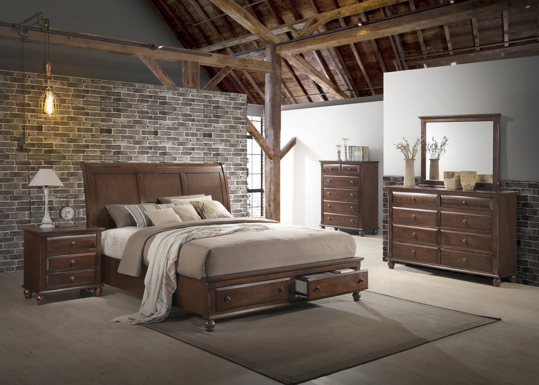 Concord Cherry Finish wood Bedroom Set  Queen Platform Bed  Dresser  Mirror  Night Stand  Chest