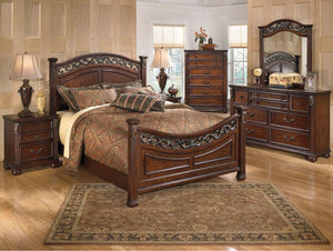 Leahlyn Queen Bedroom Set with Panel Bed Dresser, Mirror and Nightstand in Warm Brown