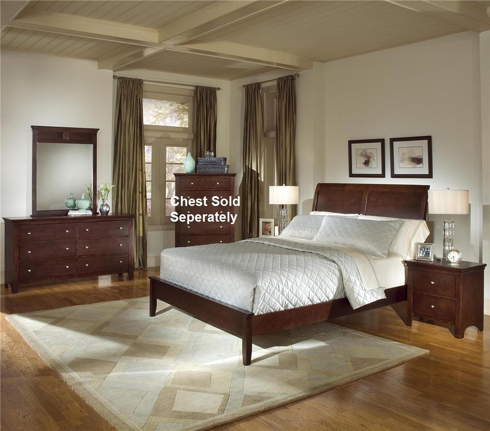 5pc Cherry Finish Bedroom Set (King Bed  Dresser  Mirror  2 Night Stands)