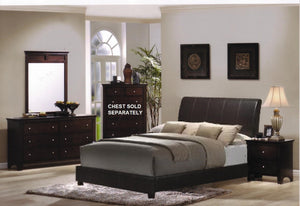 5pc Cherry Finish Bundled Leather Bedroom Set (King Bed  Dresser  Mirror  2 Night Stands)