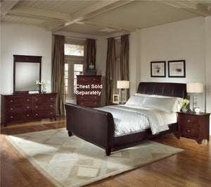 4pc Cherry Bundled Leather Finish Bedroom Set (Queen Bed  Dresser  Mirror  Night Stand)