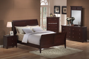 4pc Cherry Finish Bedroom Set (Queen Bed  Dresser  Mirror  Night Stand)