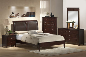 5pc Wood Leather Bed Room Set (Queen Bed Dresser Mirror 2 Night Stands)