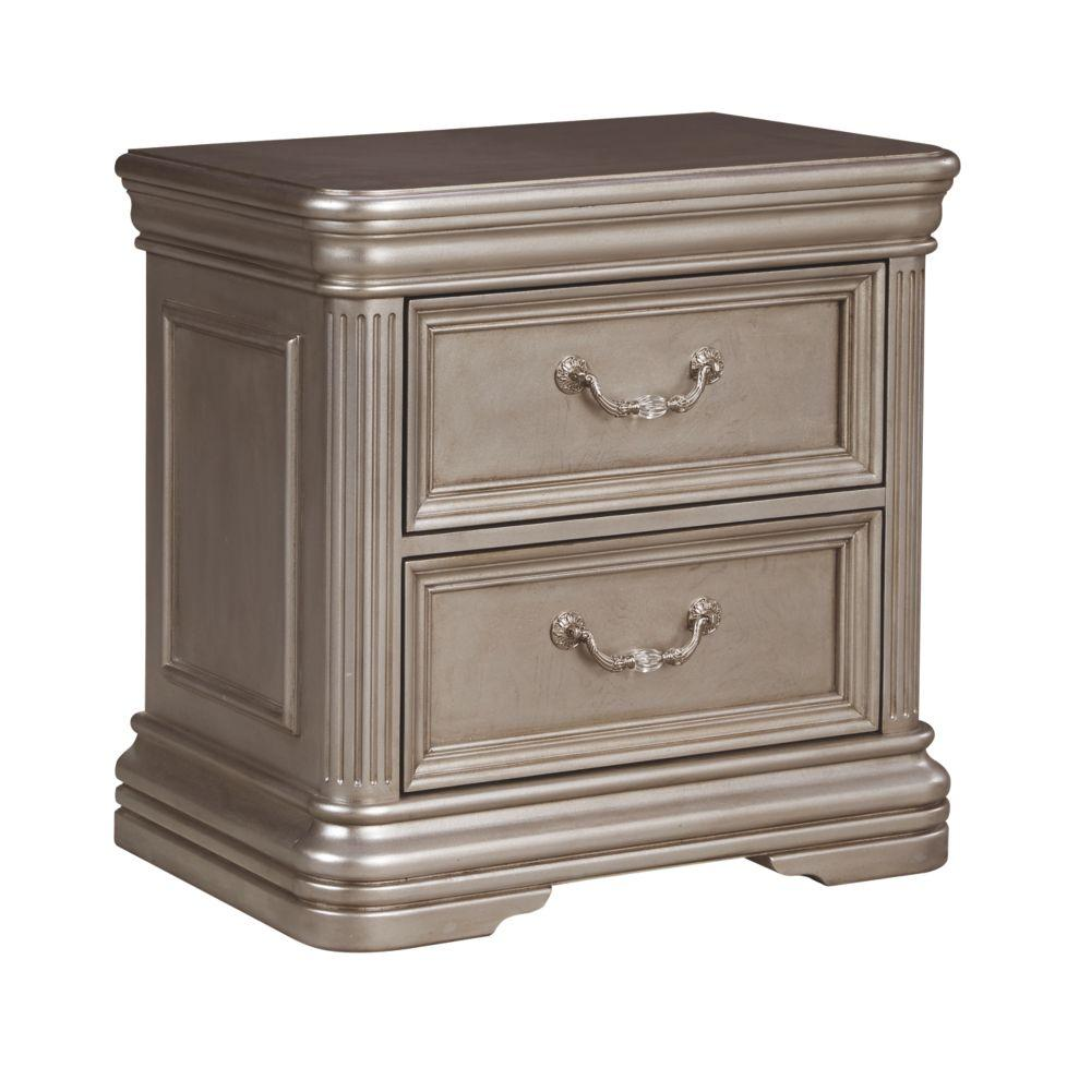 Birlanny Silver Two Drawer Night Stand