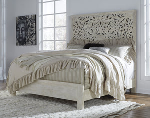BennoriCasualWhite Color Wood Bedroom Set: King Panel Bed