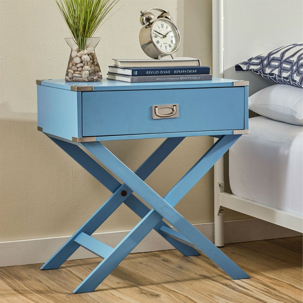 Modern 1-Drawer Bedroom Nightstand End Table in Blue Finish