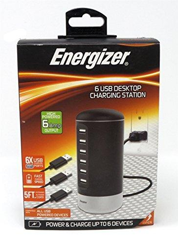 Energizer 6 Port USB Desktop Charging Station Black 5Ft Cord 6Amp ENG-PS003BK