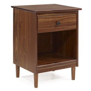 1-Drawer Solid Wood Nightstand - Walnut