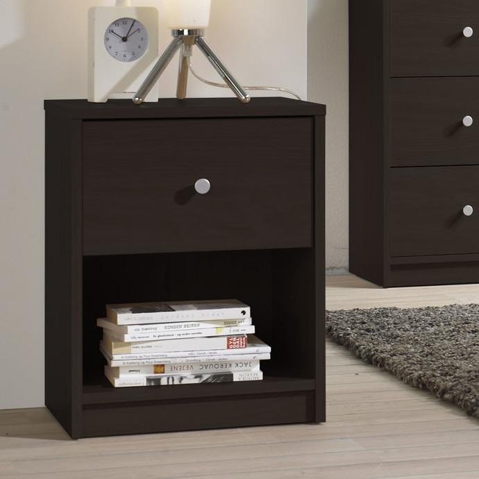 Modern 1-Drawer Bedroom Nightstand in Dark Brown Wood Finish