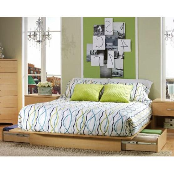 Full / Queen size Modern Platform Bed Frame in Natural Wood Finish