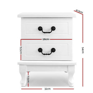 Artiss Bedside Table Storage Lamp Side Nightstand Unit Cabinet Bedroom White