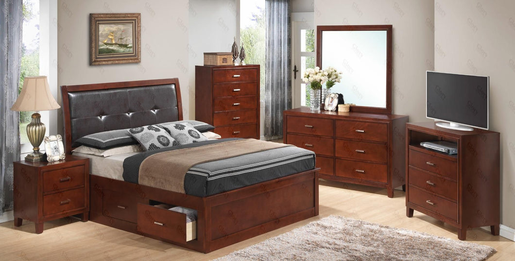 G1200BKSBNTV 3 Piece Set including King Storage Bed, Nightstand and Media Chest in Cherry