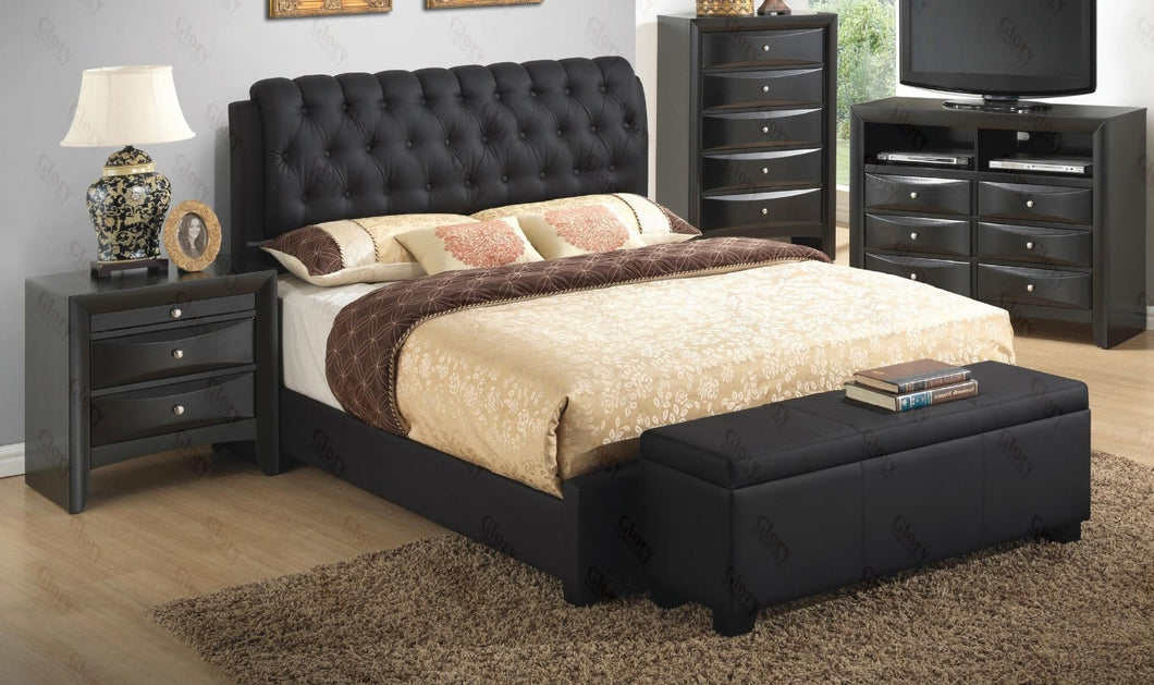 G1500CKBUPCHNB 4 Piece Set including King Size Bed, Chest, Nightstand and Bench in Black