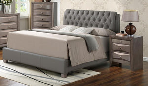 G1505CKBUPCHN 3 Piece Set including King Size Bed, Chest and Nightstand in Gray