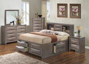 G1505GKSB3DMN 4 Piece Set including King Size Bed, Dresser, Mirror and Nightstand in Gray