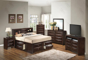 3 Piece Set including King Size Bed, Nightstand and Media Chest in Cappuccino