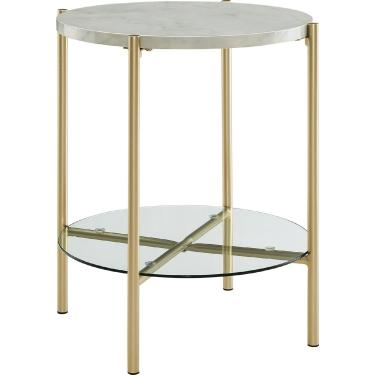 2-Piece Round Coffee Table Set - White Faux Marble / Gold