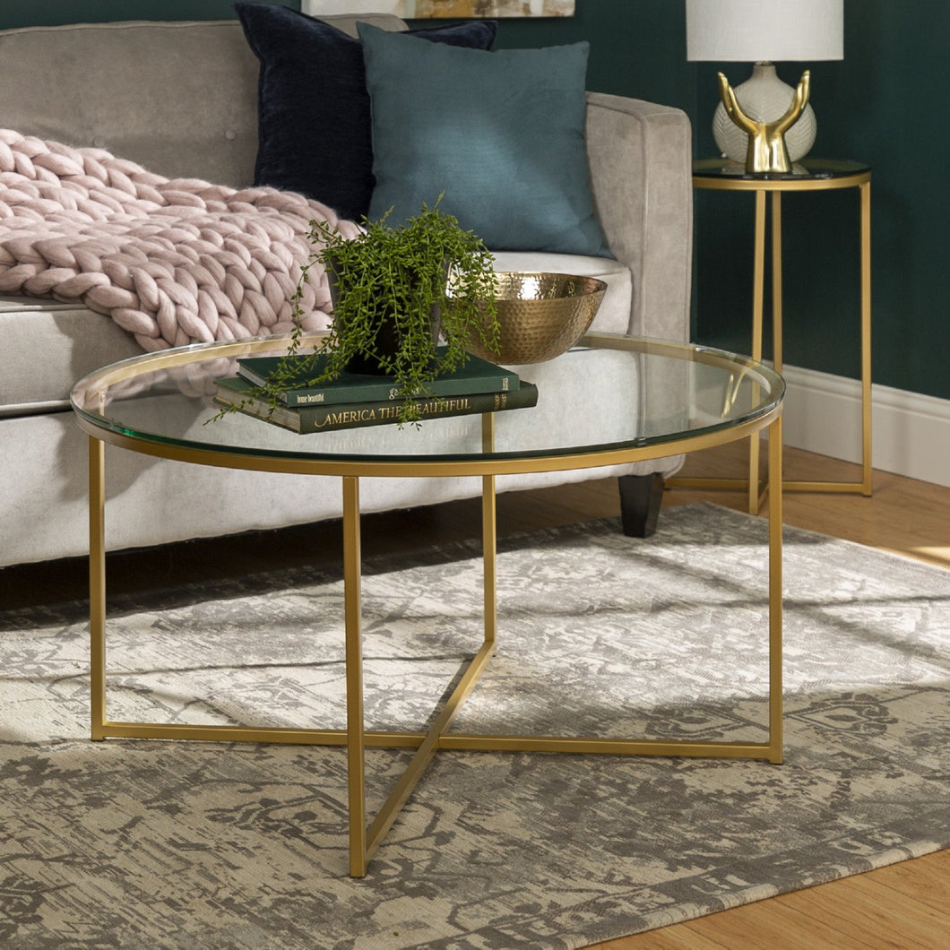 2-Piece Round Coffee Table Set - Glass / Gold