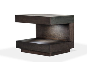 "16"" Brown Oak Veneer Nightstand"