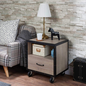 "20"" X 15"" X 23"" Rustic Natural And Black Particle Board Nightstand"