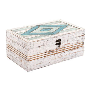 "12"" X 7.1"" X 5.1"" White Rectangular Wooden Box"