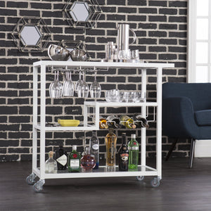 Agnes Contemporary White with Smoky Gray Metal And Glass Bar Cart
