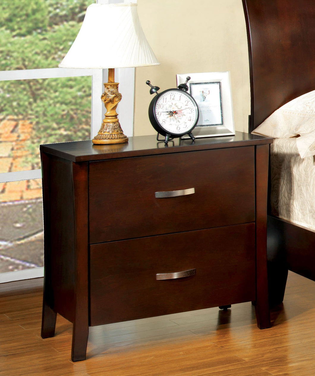 Contemporary Carlson Curved Edge Brown Cherry Night Stand