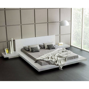 King Modern Platform Bed with Headboard and 2 Nightstand in Ash White