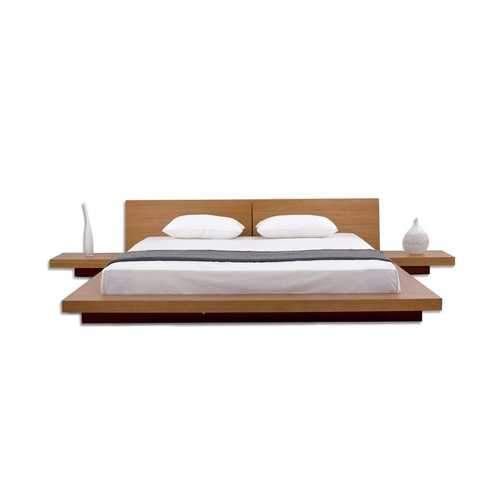 King size Modern Japanese Style Platform Bed with Headboard and 2 Nightstands in Oak