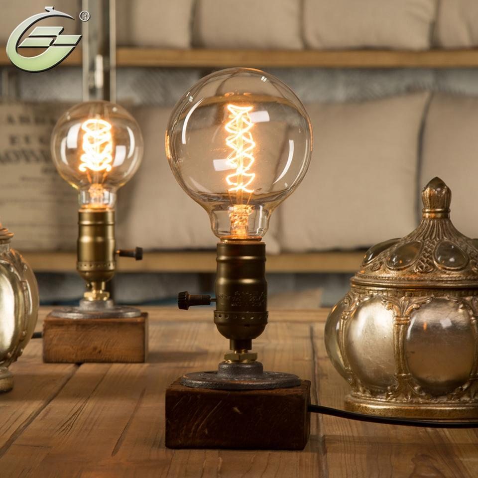 Edison Bulb Table Lamp,Wood Base Light