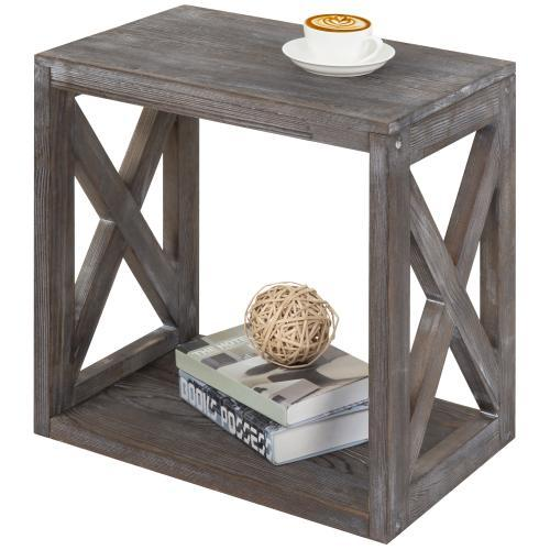 Wood Rectangular End Table with Vintage Grey Finish
