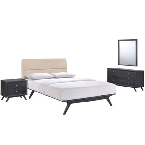 Addison 4 Piece Queen Bedroom Set in Black Beige