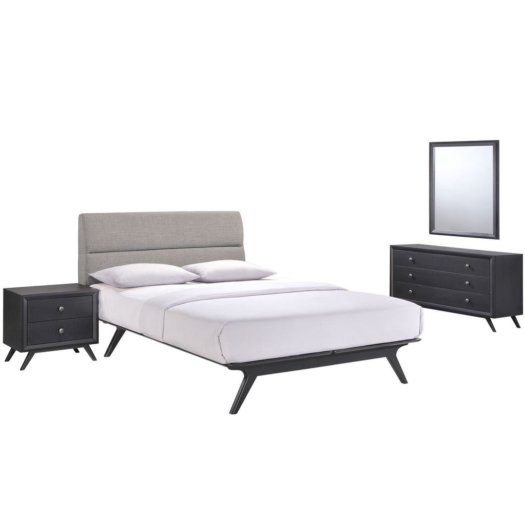 Addison 4 Piece Queen Bedroom Set in Black Gray-MOD-5266-BLK-GRY-SET